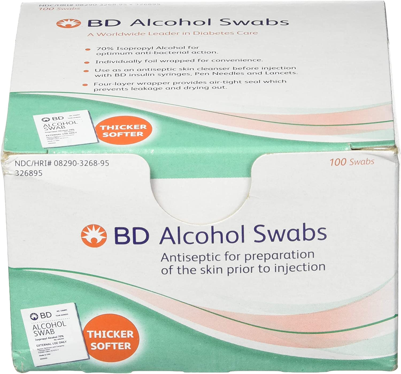 BD Alcohol Swabs 100 Each