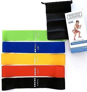 Set 5 Bandas elasticas Fitness, Bandas elasticas musculacion Latex Natural
