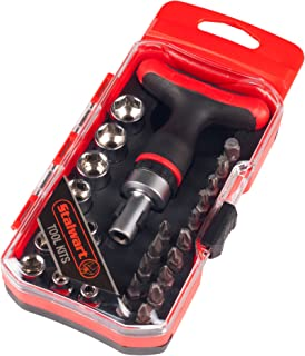 Ratcheting Screwdriver with 27 Piece Bit and Socket Set – T-Shaped Handle Multitool, Metric and SAE Measurement for Interchangeable Bits