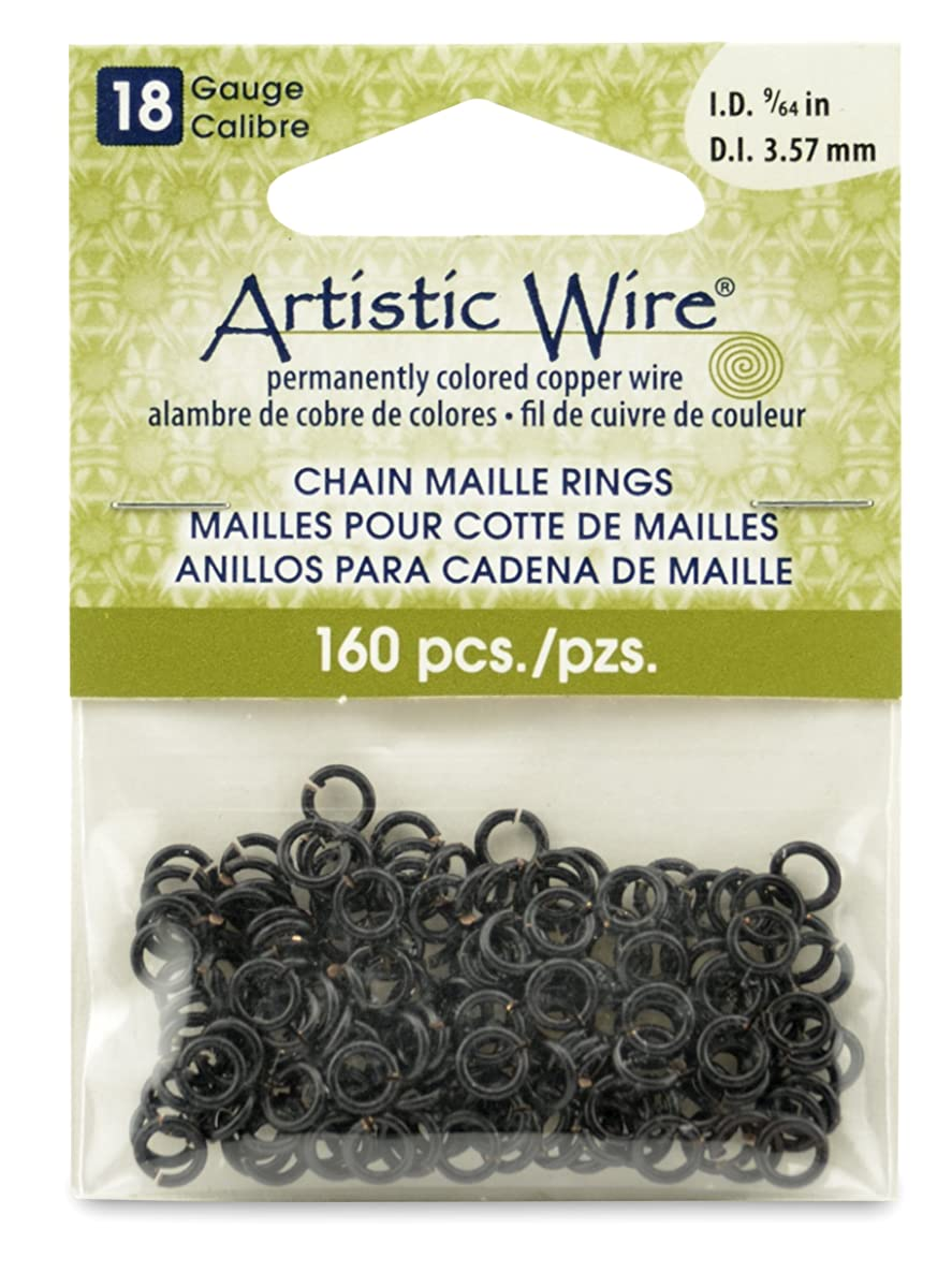 Artistic Wire 18-Gauge Black Chain Maille Rings, 9/64-Inch Diameter, 160-Pieces