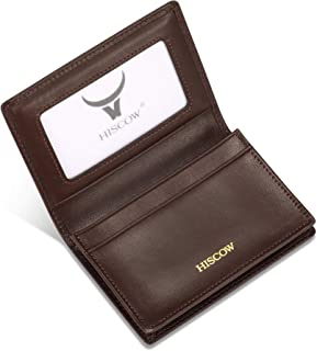 HISCOW Business Card Holder with Large Compartment - Full Grain Leather