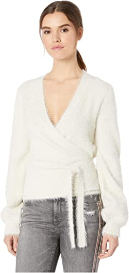 Gigi Fluffy Faux Wrap Sweater