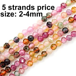2-4mm Faceted Gemstone Beads for Jewelry Making, Sold per Bag 5 Strands Inside (Tourmaline, 2mm)