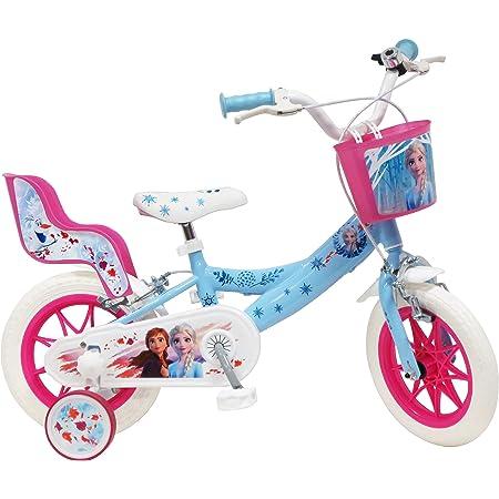 Disney - Bicicleta de 12 Pulgadas con 2 Frenos, Cesta Delantera y portamuñecas Trasera + 2 estabilizadores extraíbles para niña, Azul Cielo, Blanco y Fucsia.