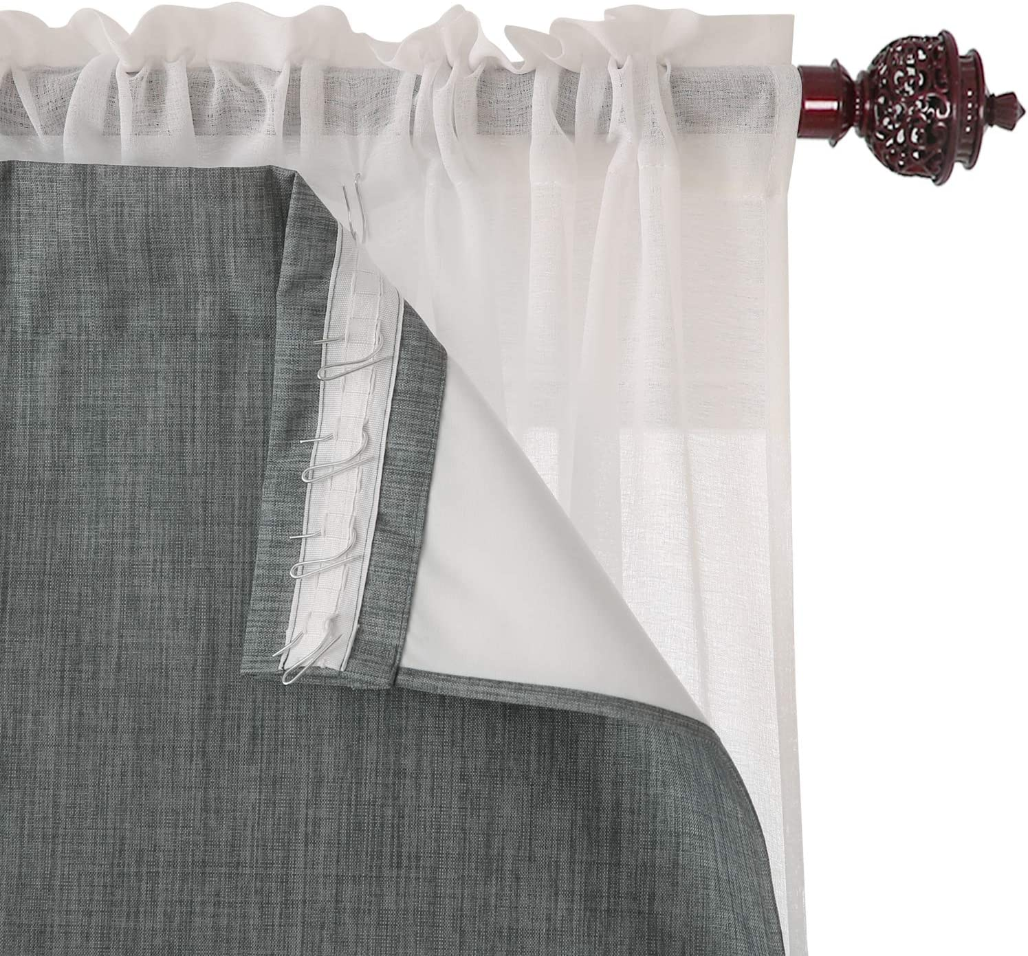 Deconovo Curtain Rod Pocket Blackout Triple-Pass with Finally resale start Coat Liner Max 88% OFF