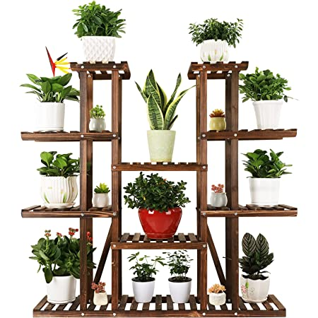 Ufine 9 Tier Wood Plant Stand Carbonized Flower Rack 17 Potted Organizer Tall Plant Display Shelf for Indoor Outdoor Patio Garden Corner Balcony Living Room Kitchen