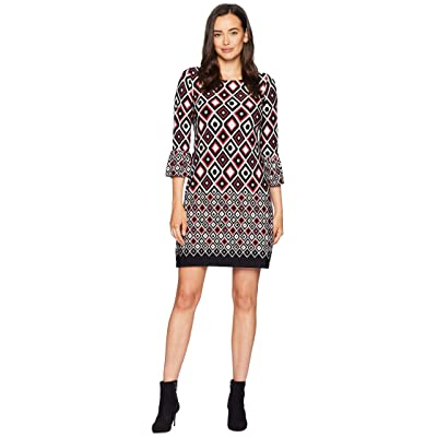 Gabby Skye Geometric Print Bell Sleeve (Black/Red/Cream) Women