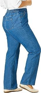 Women's Plus Size Side-Elastic Straight Leg Cotton Jean