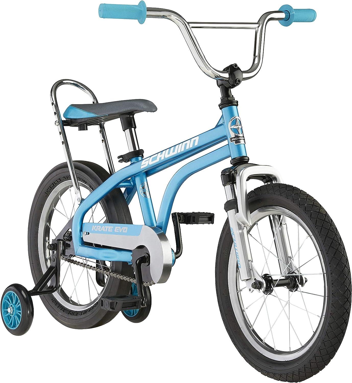 Schwinn Krate Evo Classic Kids Bike, 16-Inch Wheels, Boys and Girls Ages 3-5 Years, Removable Training Wheels, Coaster Brakes, Blue : Sports & Outdoors