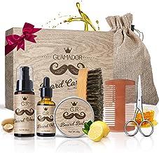 Beard Care Gift Kit for Men/Dad/Husband GLAMADOR 8-in-1 Beard Grooming Kit, ProfessionalBeardTrimmingSet, Beard Growth Kits with BeardWash,Beard Oil,BeardBalm,Beard Comb Brush Scissors Travel Bag