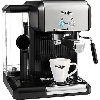 Mr. Coffee Café Steam Automatic Espresso and Cappuccino Machine, Silver/Black