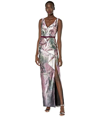 Marchesa Notte V-Neck Metallic Printed Jacquard Gown w/ Front Side Slit and Cascading Draped Bow (Amethyst) Women