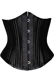 LALOPEZ Womens Gothic Steel Boned Steampunk Overbust Corset Waist Cincher