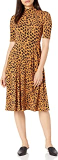 Donna Morgan womens 3/4 Sleeve Mock Neck Leopard Print Matte Jersey Dress Dress