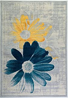 Ladole Rugs Contemporary Floral Pattern Area Rug Living Room Bedroom Entrance Hallway Carpet in Teal Yellow 5x8 (5'3