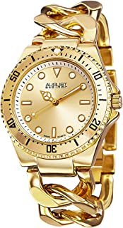 Women's Swiss Diver Watch - Sunray Dial with Luminescent Hands on Twist Chain Bracelet - AS8079