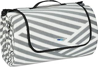 Relaxdays XXL picknickdeken, 200 x 300 cm, fleece stranddeken, zacht, warmte-isolerend, waterdicht, met draaggreep, grijs/wit