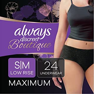 Always Discreet Boutique Low-Rise Postpartum Incontinence Underwear Size S/M Maximum Absorbency, Up to 100% Leak Protectio...