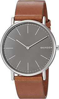 Skagen Men's Quartz Watch analog Display and Leather Strap, SKW6429