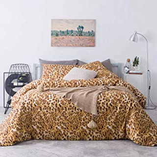 SUSYBAO 3 Piece Duvet Cover Set 100% Cotton King Size Gold Leopard Bedding Set with Zipper Ties 1 Animal Print Duvet Cover 2 Pillowcases Luxury Quality Soft Breathable Lightweight Durable