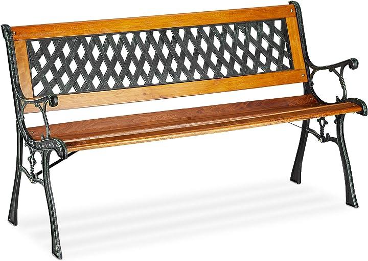 Panca da giardino, 2 posti, schienale decorativo, ghisa, listelli in legno 10026110