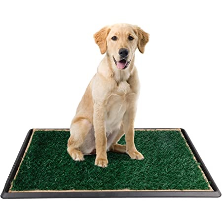 Dog Grass Pad with Tray - Pee Pad Grass Indoor Dog Potty Tray, Puppy Potty Training Grass, Grass Patches for Dogs, Reusable 3 Layered Fake Dog Potty Grass, Easy to Clean