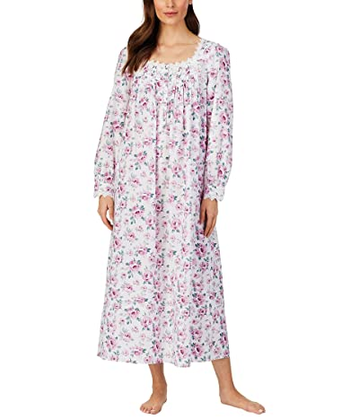 Eileen West Cotton Lawn Woven Long Sleeve Ballet Gown (White Ground/Rose) Women