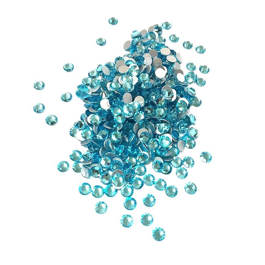 ストレス適用するカスタム【ネイルウーマン】最高品質ガラスストーン!スワロ同等の輝き! アクアマリン 水色 ライトブルー (約100粒入り) (SS3, アクアマリン)