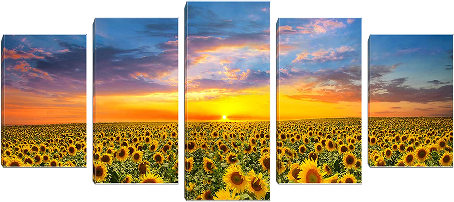 Sunflower Canvas Print Wall Art Landscape Painting Picture Framed for Living Room Bedroom Bathroom Decor 5 Panels Yellow