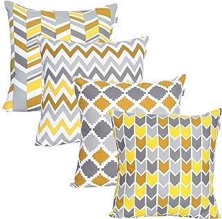 UMI par Amazon - Lot de 4Housses décoratives pour Coussins carrés, au Toucher Doux, pour canapé, Chambre ou Voiture, 45,7...