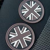 73mm Schwarzen Union Jack Britische Flagge Stil Silikon Becherhalter Bierdeckel Passen Mini Cooper R55 R56 R57 R58 R59 Front Cup Holders Schwarz Auto