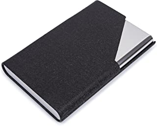 PU Leather Stainless Steel Business Card Holder Name Card Case with Magnetic Shut Black