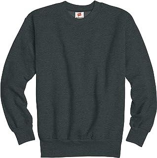 Hanes Boy's Big Cotton Crewneck Fleece Closure Sweatshirt