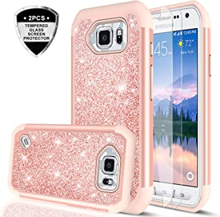 Galaxy S6 Active Case (Not Fit Galaxy S6)with Tempered Glass Screen Protector [2 Pack], LeYi Glitter Cute Girls Women Dual Layer Protective Phone Case for Samsung Galaxy S6 Active SM-G890 TP Rose Gold
