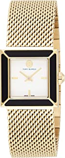 Tory Burch Women's Quartz Watch, Analog Display and Stainless Steel Strap Trb5100, Gold Band