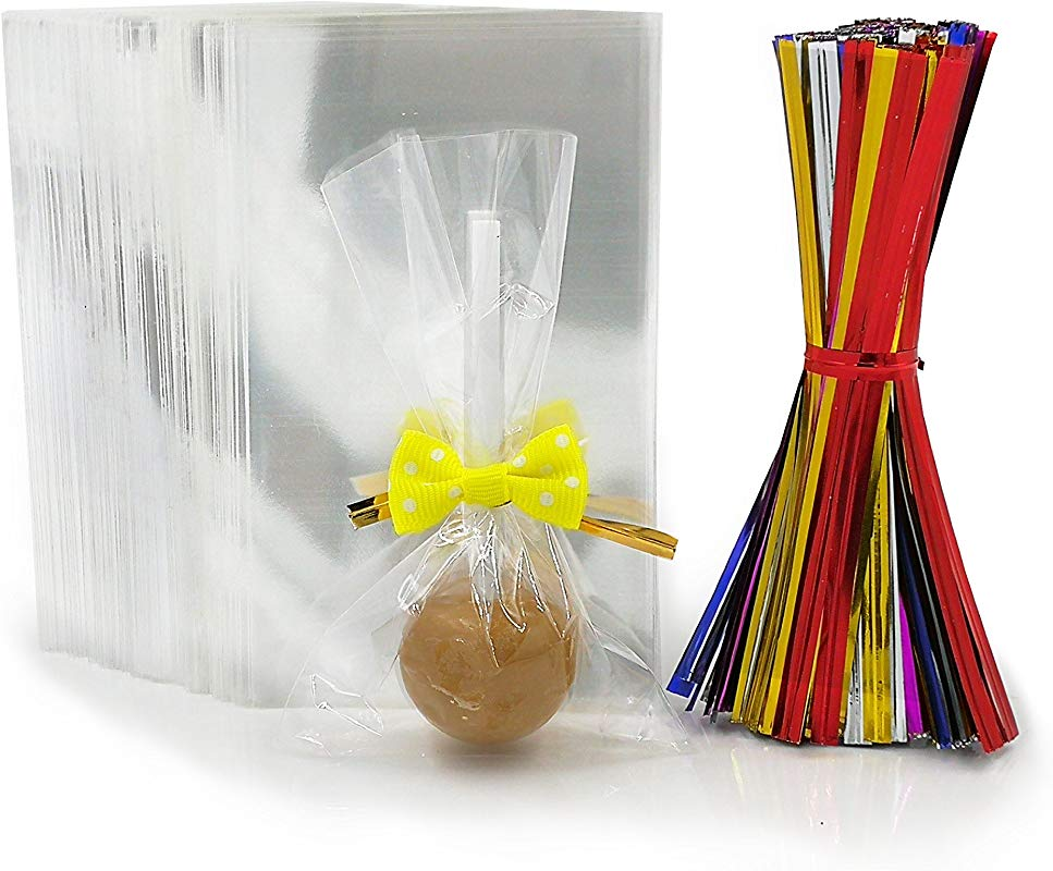 200 Clear Treat Bags With 200 Pcs Twist Ties 20 Bowknot 5 Colors Clear Cellophone Bags Party Favor Bags For Lollipop Cake Pop Candy Buffet Chocolate Cookie Wedding Supply 2 3 X 4