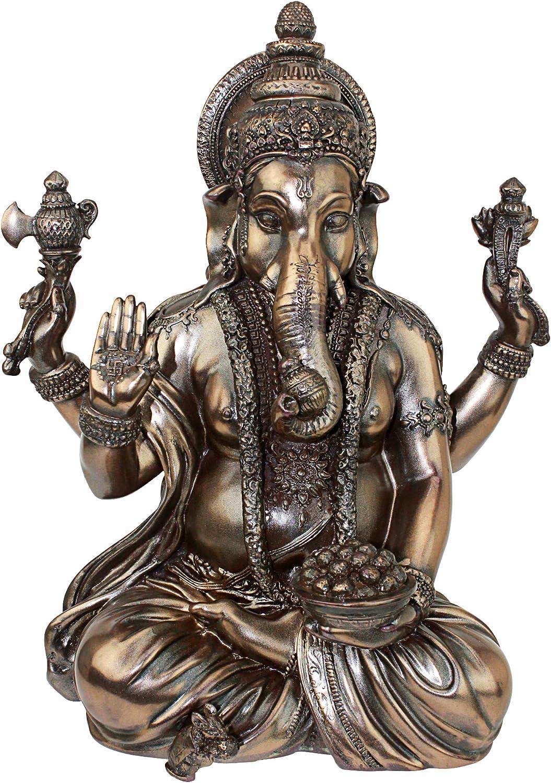 Design Toscano Lord Ganesha Hindu Elephant God Statue, 11 Inch Polyresin, Faux Bronze
