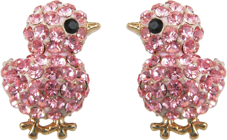 Navachi 18k Gold Plated Chicken Crystal Enamel Stud Earrings