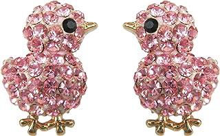 18k Gold Plated Chicken Crystal Enamel Stud Earrings