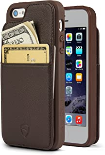 iPhone SE / 5S Case, Vaultskin Eton Armour iPhone SE / 5S Case Wallet, Slim, Minimalist Genuiner Leather Case - Holds up to 8 Cards/Top Grain Leather (Brown)