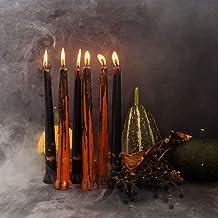 شموع ديكور الهالوين - مجموعة من 6 قطع - حسب مقاس 9 بوصات - هدايا برتقالية وسوداء