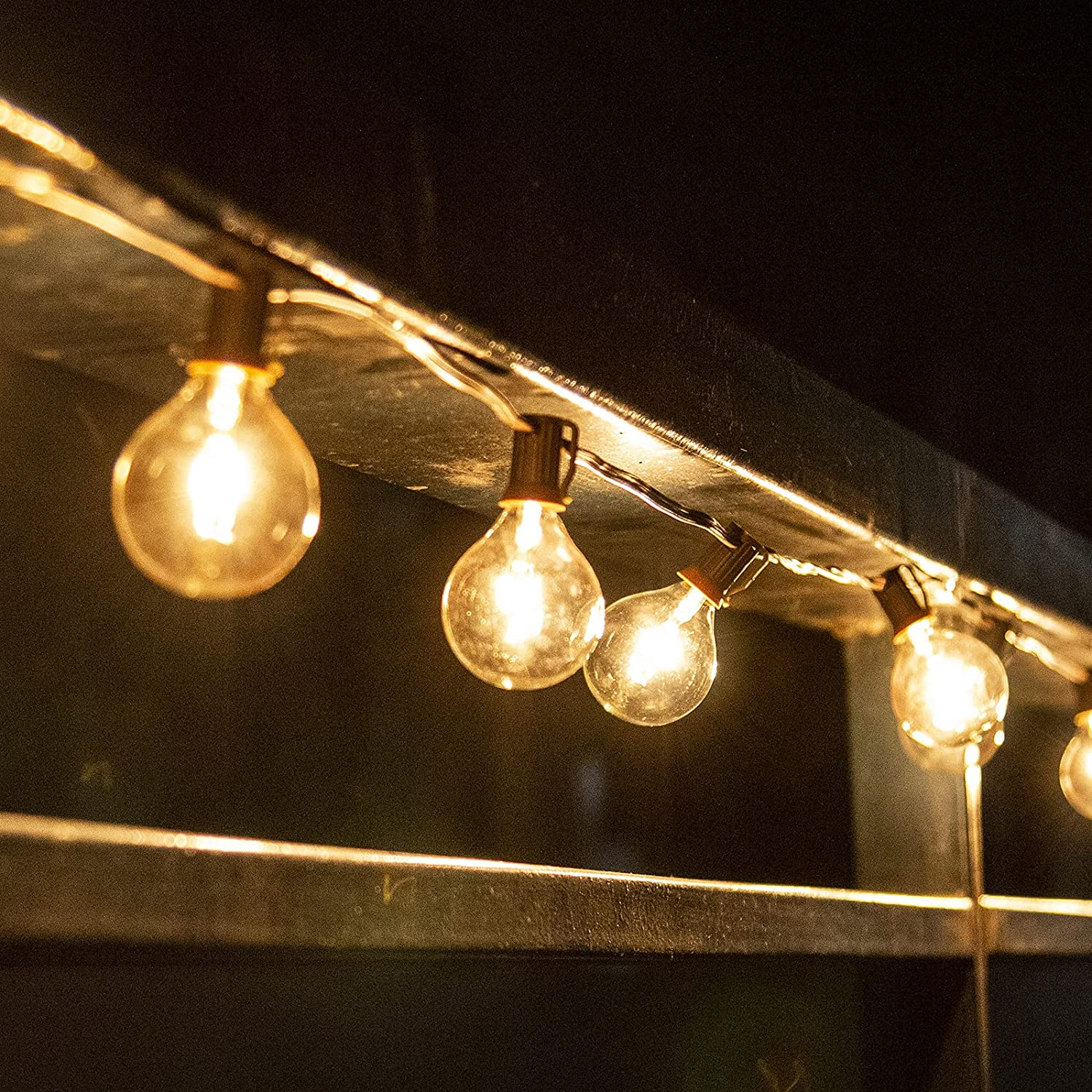 PEIDUO String Lights 12 FT G50 Globe Patio Lights with 12 Edison Glass Bulbs(1 Spare), Waterproof Connectable Hanging Light for Camper Backyard Porch Balcony Yard Party Decor