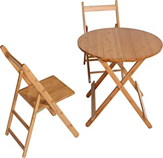 UNICOO - Bamboo Round Folding Deck Table, Card Tables, Patio Table, Bistro Set 3 Piece with Two Folding Chairs (T70-R)