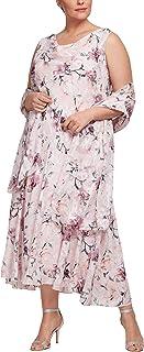 66f573b0329c8 Alex Evenings Women's Plus Size Tea Length Printed Chiffon Dress with Shawl