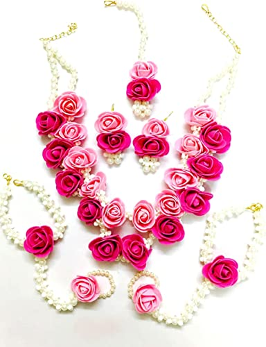 Floret Pearl Designer Pink Flower Jewellery Set with 6 Items for Women