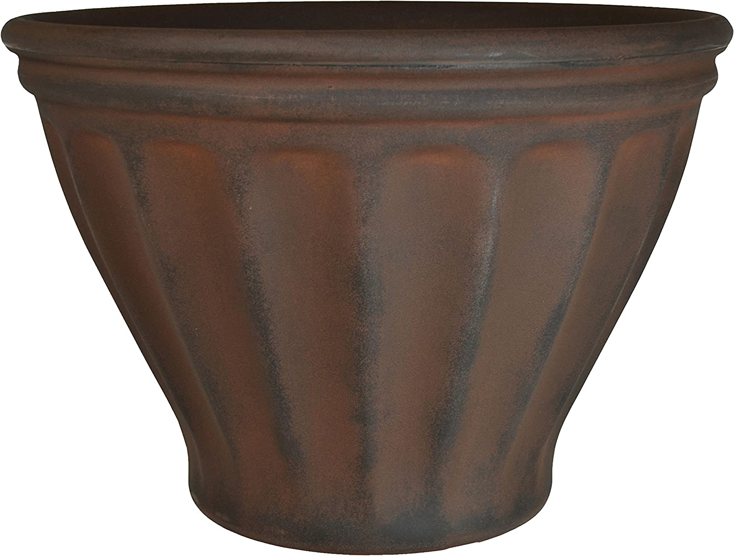 Sunnydaze Charlotte Flower Pot Planter, Outdoor/Indoor Extra-Durable Double-Walled Polyresin with UV-Resistant Rust Finish, Single, 16-Inch Diameter