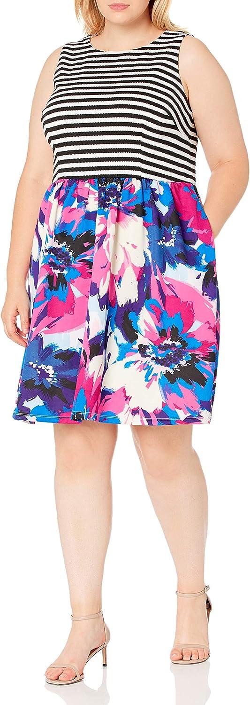 London Times Women's Plus Size Sleeveless Round Neck Fit & Flare Dress
