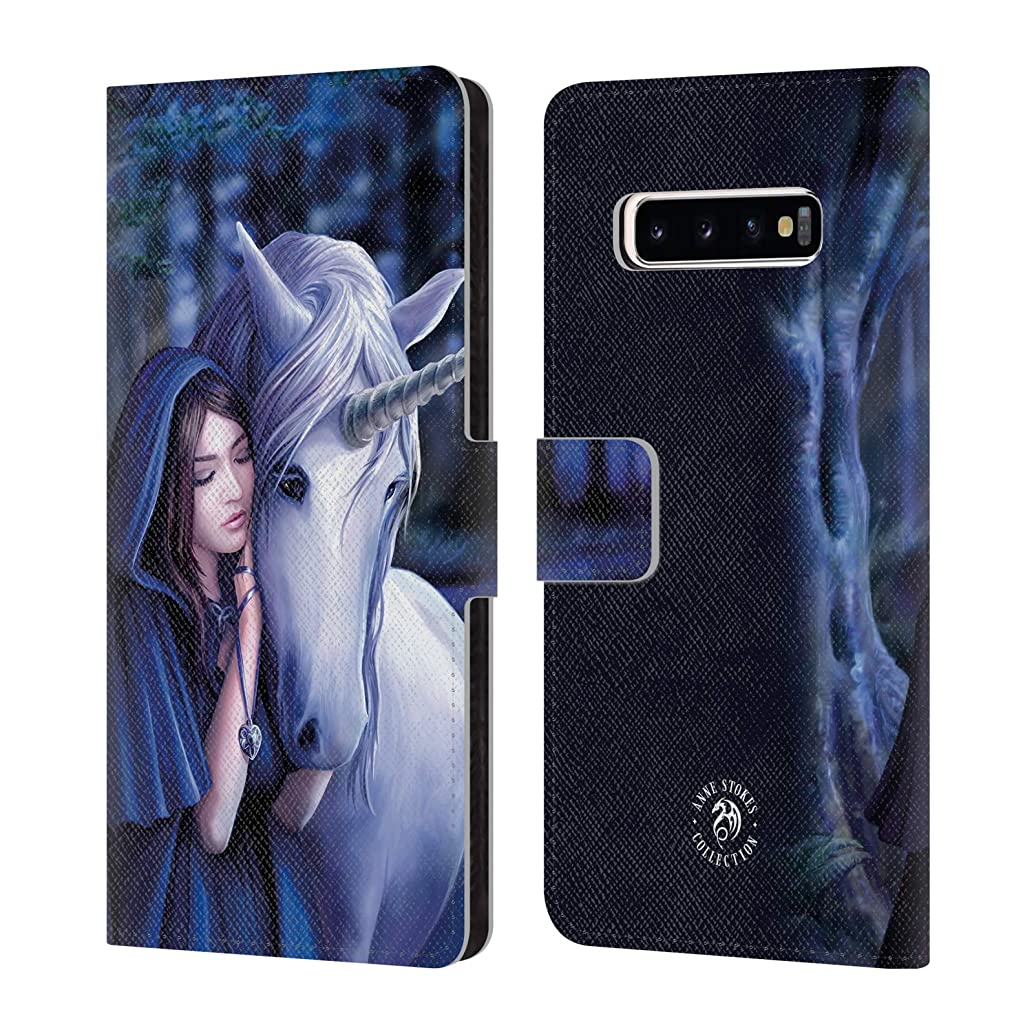 Official Anne Stokes Solace Unicorns 2 Leather Book Wallet Case Cover Compatible for Samsung Galaxy S10+ / S10 Plus