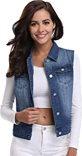 Women Denim Vest Sleeveless Cropped Jean Vest Jacket with Chest Pockets