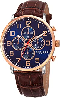 Akribos XXIV AK854 Essential Mens Casual Watch - Sunburst Effect Dial - Chronograph Quartz - Leather Strap